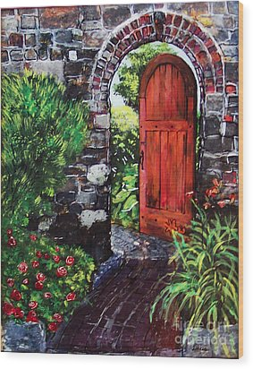 The Wooden Door Wood Print by Lucia Grilletto