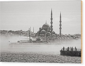 The Yeni Mosque In Fog Wood Print by For Ninety One Days