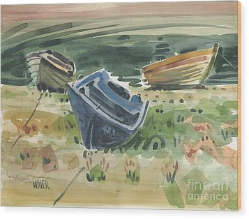 Three Boats Wood Print by Donald Maier