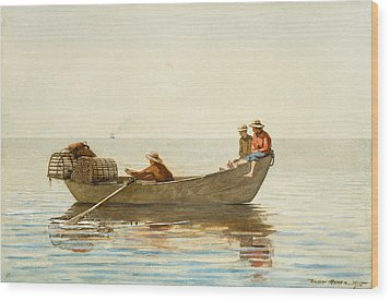 Three Boys In A Dory With Lobster Pots Wood Print by Winslow Homer