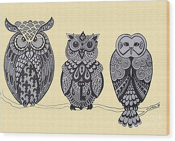 Three Owls On A Branch Wood Print by Karen Larter