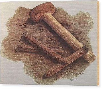 Three Rusty Nails Wood Print by Mickey Clogher