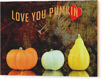 Three Small Pumpkins Wood Print by Tommytechno Sweden