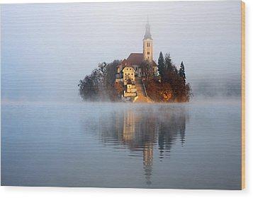 Through The Mist Wood Print by Ian Middleton