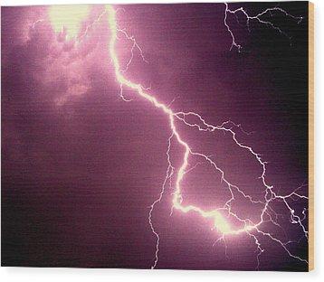 Lightning Wood Print by Salman Ravish