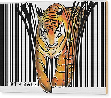 Tiger Barcode Wood Print by Sassan Filsoof