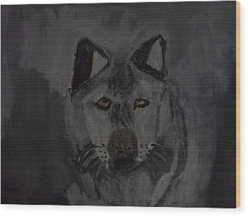 Timber Wolf Acrylic Painting Wood Print by William Sahir House