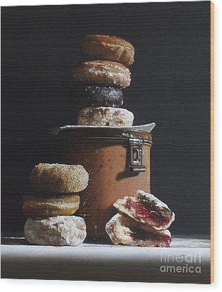 Tin With Donuts Wood Print by Larry Preston