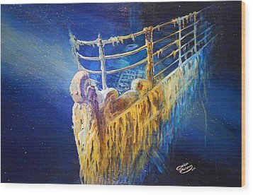 Titanic In The Deep Mist Wood Print by Ottilia Zakany