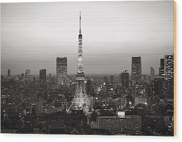 Tokyo Tower At Night Wood Print by For Ninety One Days