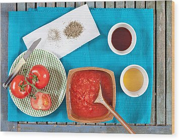 Tomatoes Wood Print by Tom Gowanlock