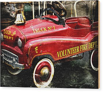 Toy Fire Truck Wood Print by Bobbi Feasel