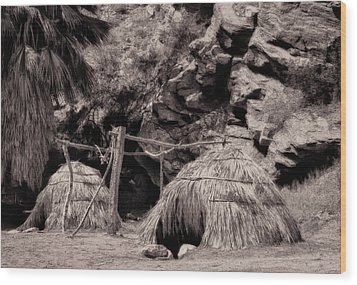 Traditional Cahuilla Indian Huts Wood Print by Sandra Selle Rodriguez