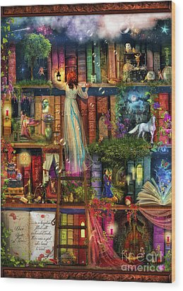 Treasure Hunt Book Shelf Wood Print by Aimee Stewart