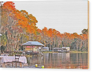 Trees By The Lake Wood Print by Cyril Maza