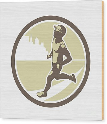 Triathlete Running Side Circle Retro Wood Print by Aloysius Patrimonio