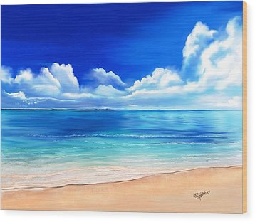 Wood Print featuring the digital art Tropical Blue by Anthony Fishburne