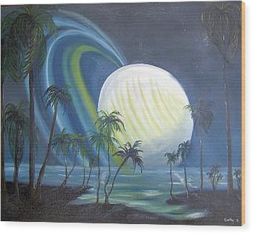Tropical Moon Wood Print