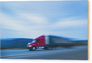 Truck On Motorway Wood Print by Science Photo Library