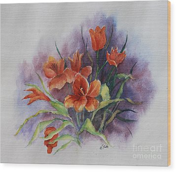 Tulips Wood Print by Janet Felts