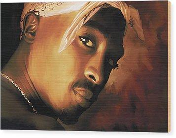 Tupac Shakur Wood Print by Sheraz A