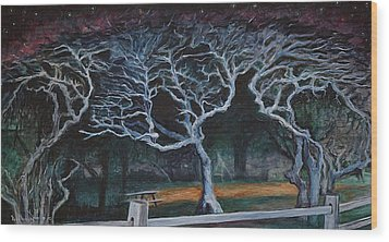 Wood Print featuring the painting Twisted Night by Ron Richard Baviello