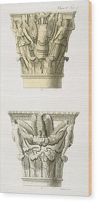 Two Column Capitals Wood Print by .