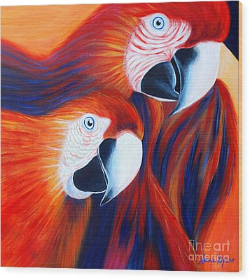 Two Parrots. Inspirations Collection. Wood Print by Oksana Semenchenko