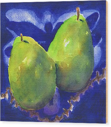 Wood Print featuring the painting Two Pears On Blue Tile by Susan Herbst
