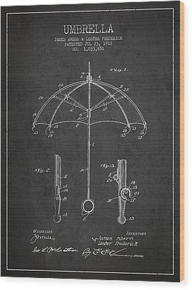 Umbrella Patent Drawing From 1912 Wood Print by Aged Pixel