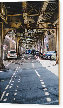 Under The L Tracks Wood Print