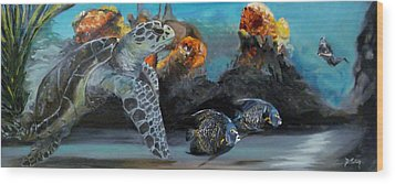 Wood Print featuring the painting Underwater Beauty by Donna Tuten