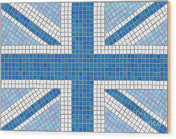 Union Jack Blue Wood Print by Jane Rix