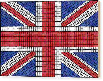 Union Jack Mosaic Wood Print by Jane Rix