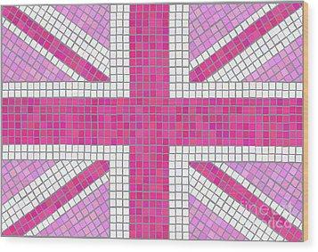 Union Jack Pink Wood Print by Jane Rix