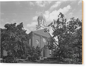 University Of Dayton Chapel Wood Print by University Icons