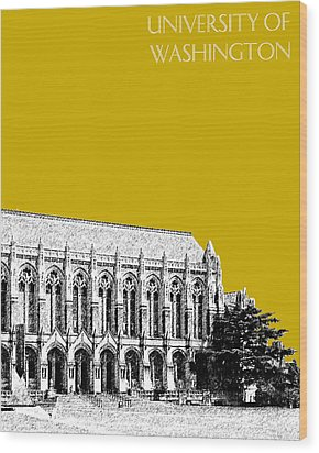 University Of Washington - Suzzallo Library - Gold Wood Print by DB Artist