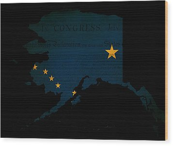Usa American Alaska State Map Outline With Grunge Effect Flag Wood Print by Matthew Gibson