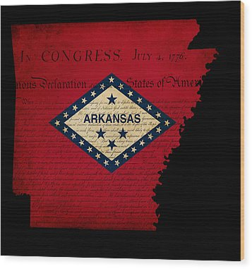 Usa American Arkansas State Map Outline With Grunge Effect Flag  Wood Print by Matthew Gibson