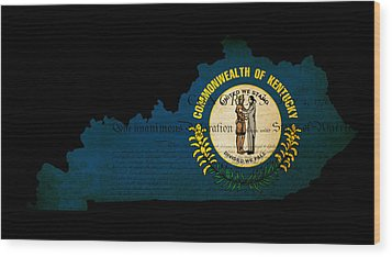 Usa American Kentucky State Map Outline With Grunge Effect Flag  Wood Print by Matthew Gibson