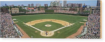 Usa, Illinois, Chicago, Cubs, Baseball Wood Print by Panoramic Images