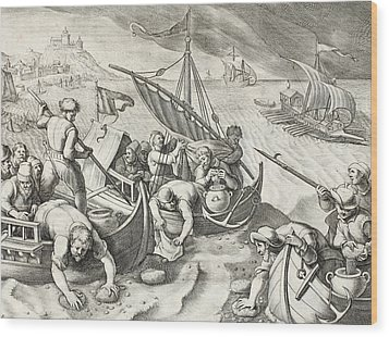 Using Sponges To Collect Naphtha From The Surface Of The Waves Wood Print by Jan Van Der Straet