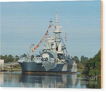 Uss North Carolina Battleship Wood Print by Bob Sample