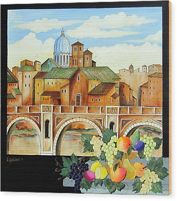 Wood Print featuring the painting Vecchia Roma by Roberto Gagliardi