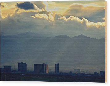 Vegas Sunset After The Storm Wood Print