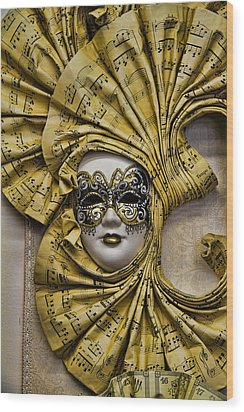 Venetian Carnaval Mask Wood Print by David Smith