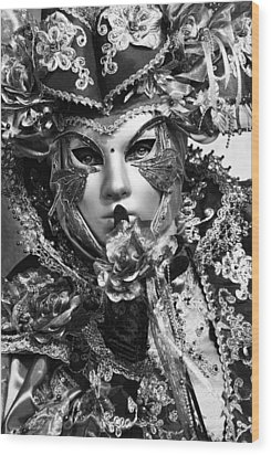 Venetian Mask Wood Print by Yuri Santin
