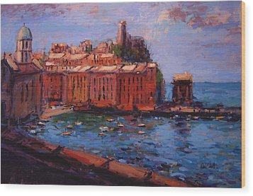 Vernazza From The Train Wood Print by R W Goetting