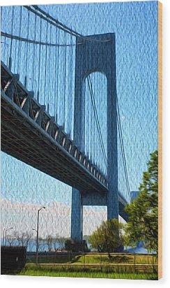 Verrazano Bridge Wood Print by Boris Mordukhayev