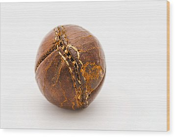 Very Old Leather Baseball Wood Print by Patricia Hofmeester